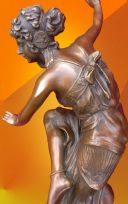 ART DECO CORINTHIAN DANCER SIGNED BRONZE LIGHT PATINA STATUE